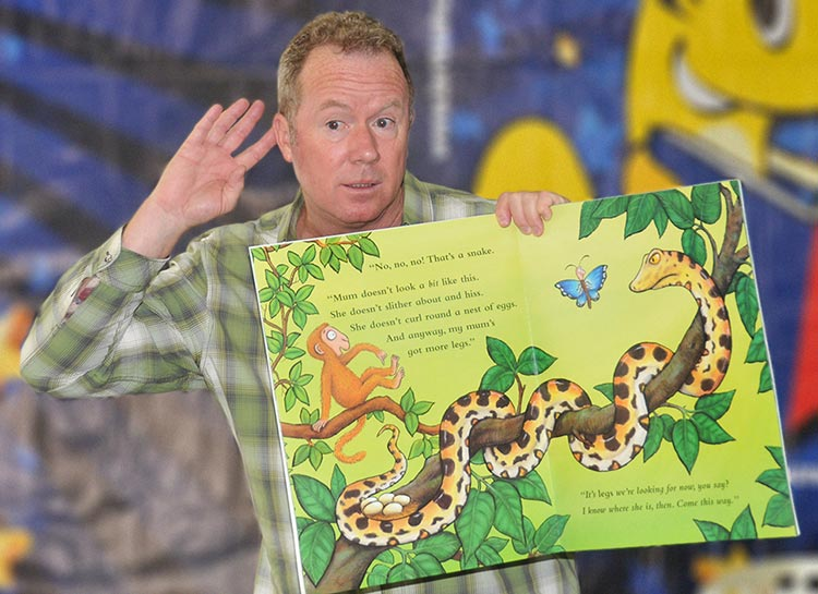 Kevin Graal storytelling for schools with a big book